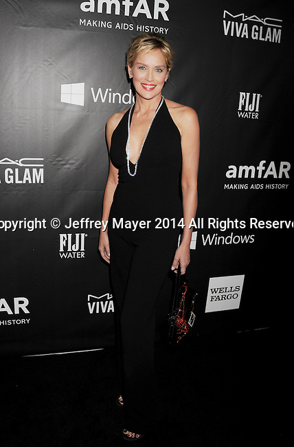 HOLLYWOOD, CA- OCTOBER 29: Actress Sharon Stone attends amfAR LA Inspiration Gala honoring Tom Ford at Milk Studios on October 29, 2014 in Hollywood, California.