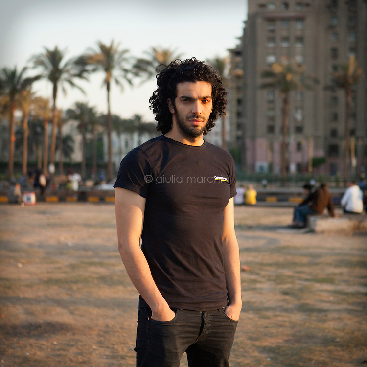 Egypt / Cairo / 5.4.2013 / Ramy Essam, Egyptian musician, poses in Tahrir Square, in Downtown Cairo. © Giulia Marchi
