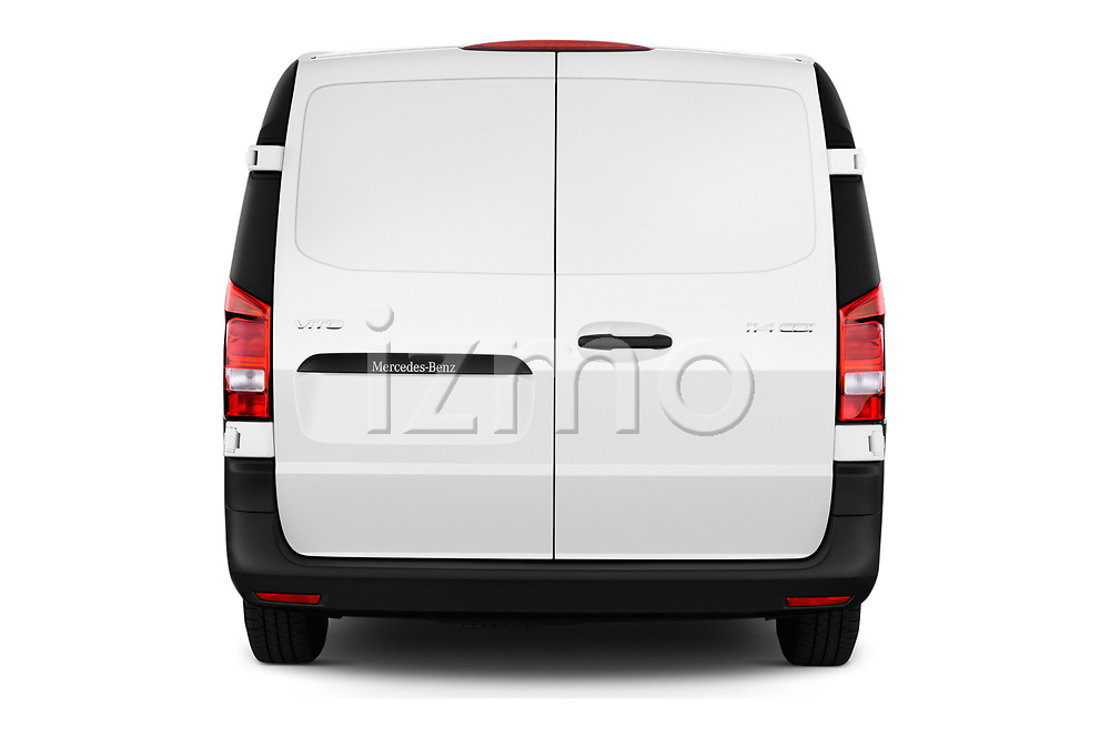 Straight rear view of a 2019 Mercedes Benz Vito Base 4 Door Cargo Van stock images