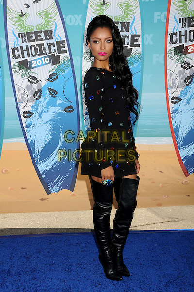 KATERINA GRAHAM.Teen Choice Awards 2010 - Arrivals held at Universal Studios Gibson Amphitheatre, Universal City, California, USA.August 8th, 2010.full length black dress long sleeves leather thigh high boots embellished jewel encrusted side .CAP/ADM/BP.©Byron Purvis/AdMedia/Capital Pictures.