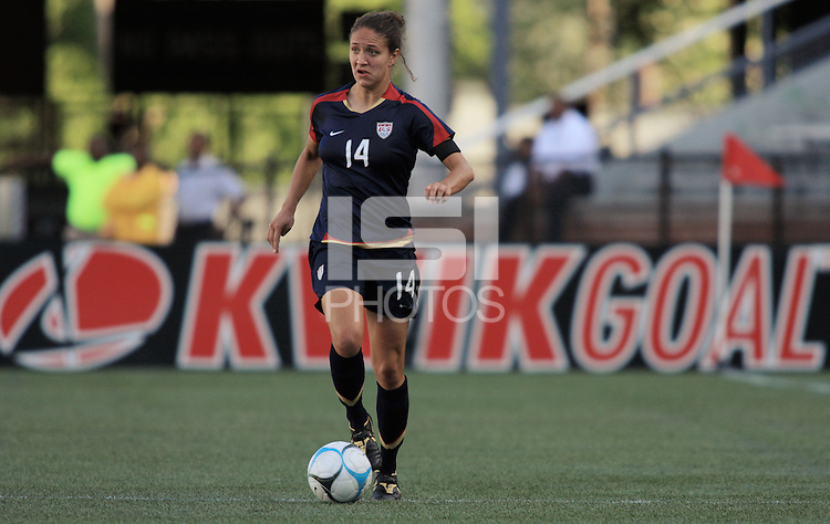 Stephanie Cox. The USA defeated Australia, 5-4, in an international friendly at Legion Field in Birmingham, Alabama on May 3, 2008.