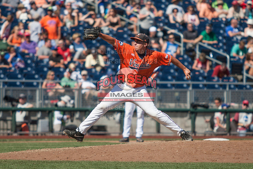 Florida Gators pitcher David Rosenberger (35) delivers a pitch to the plate against the Virginia Cavaliers in Game 11 of the NCAA College World Series on June 19, 2015 at TD Ameritrade Park in Omaha, Nebraska. The Gators defeated Virginia 10-5. (Andrew Woolley/Four Seam Images)