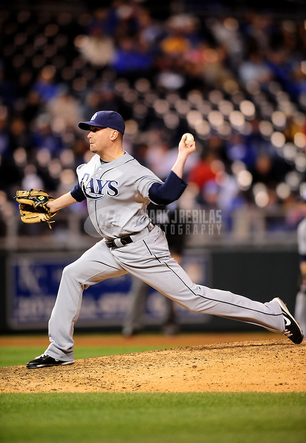 Oct. 2, 2010; Kansas City, MO, USA; Tampa Bay Rays pitcher Randy Choate against the Kansas City Royals at Kauffman Stadium. Mandatory Credit: Mark J. Rebilas-