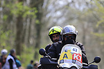 Photographer Luca Bettini on the Kemmelberg during the 2019 Gent-Wevelgem in Flanders Fields running 252km from Deinze to Wevelgem, Belgium. 31st March 2019.<br /> Picture: Eoin Clarke | Cyclefile<br /> <br /> All photos usage must carry mandatory copyright credit (© Cyclefile | Eoin Clarke)