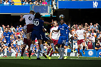 Burnley's Ben Mee heads towards goal<br /> <br /> Photographer Craig Mercer/CameraSport<br /> <br /> The Premier League - Chelsea v Burnley - Saturday August 12th 2017 - Stamford Bridge - London<br /> <br /> World Copyright &copy; 2017 CameraSport. All rights reserved. 43 Linden Ave. Countesthorpe. Leicester. England. LE8 5PG - Tel: +44 (0) 116 277 4147 - admin@camerasport.com - www.camerasport.com