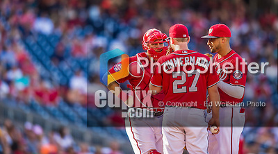 19 September 2015: Washington Nationals starting pitcher Jordan Zimmermann has a mound conference with catcher Wilson Ramos and shortstop Ian Desmond during a game against the Miami Marlins at Nationals Park in Washington, DC. The Nationals defeated the Marlins 5-2 in the third game of their 4-game series. Mandatory Credit: Ed Wolfstein Photo *** RAW (NEF) Image File Available ***