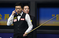 31st October 2019, Yushan, Jiangxi Province, China;  Ding Junhui L of China reacts during the round of 16 match against Michael Holt of England at 2019 Snooker World Open in Yushan