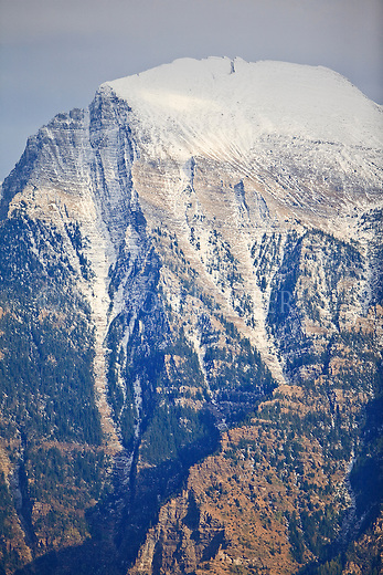 Close up view of a snow covered peak in the Mission Mountains