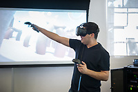 Ricardo Parada '18. CDLA's 360 Video Day on September 22, 2017 in the Varelas Innovation Lab in Johnson Hall.<br /> The CDLA (Center for Digital Liberal Arts) created the all­-day program of events and speakers that surrounds the theory and practice of 360 images and video. Students could test out Vive, Oculus, and 360 cameras.<br /> (Photo by Marc Campos, Occidental College Photographer)