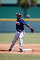 Atlanta Braves Kevin Josephina (87) during practice before a minor league Spring Training game against the Pittsburgh Pirates on March 13, 2018 at Pirate City in Bradenton, Florida.  (Mike Janes/Four Seam Images)