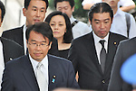 August 15, 2012, Tokyo, Japan - Chairman of the National Public Safety Commission, Jin Matsubara(Front L) visits Yasukuni Shrine to pay his respects for the war dead on August 15, 2012 in Tokyo, Japan. (Photo by AFLO)