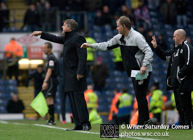 Blackburn Rovers manager Sam Allardyce and his coaching staff making a point to their players from the touchline during the Barclays Premier League match against visitors Aston Villa at Ewood Park. Blackburn won the match by two goals to nil watched by a crowd of 21,848. It was Rovers' first match under the ownership of Indian company Venky's.