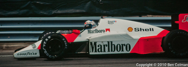 Alain Prost in the McLaren MP4-2C, Detroit 1986