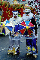 clown, costume, funny, Philadelphia, PA, Pennsylvania, Men dressed in a costumes strut in the Mummers Day Parade on New Years Day in Philadelphia.