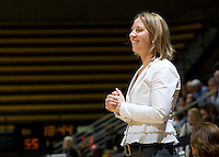 California head coach Lindsay Gottlieb smiles during the game against St. Mary's at Haas Pavilion in Berkeley, California on November 15th, 2012.  California defeated St. Mary's, 89-41.