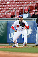Buffalo Bisons outfielder Matt Tuiasosopo (9) waits for a throw during a game against the Louisville Bats on April 29, 2014 at Coca-Cola Field in Buffalo, New  York.  Buffalo defeated Louisville 4-1.  (Mike Janes/Four Seam Images)