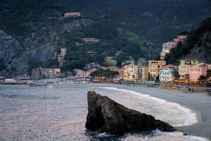 MONTEROSSO AL MARE, ITALY - CIRCA MAY 2015:  View of the beach in Monterroso Al Mare in Cinque Terre, Italy.