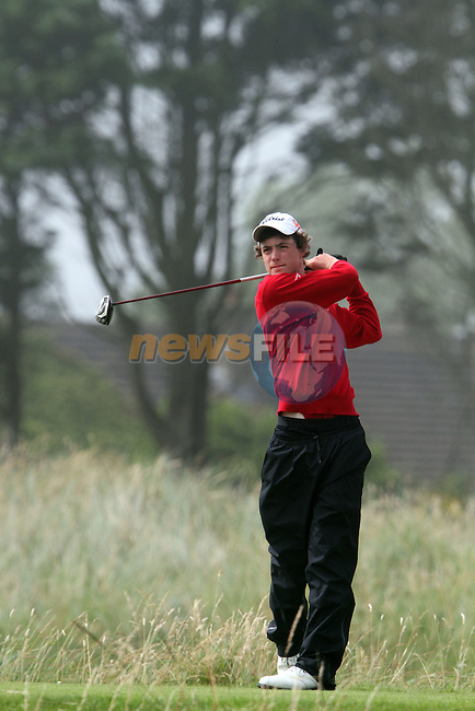 Tim Harry (WALES) on the 4th on the Final Day at the 2012 Boys Home Internationals at Co.Louth Golf Club in Baltray, Co.Louth...(Photo credit should read Jenny Matthews/NEWSFILE)...