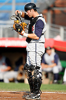 July 30, 2009:  Catcher Craig Parry of the State College Spikes during a game at Russell Diethrick Park in Jamestown, NY.  State College is the NY-Penn League Short-Season Class-A affiliate of the Pittsburgh Pirates.  Photo By Mike Janes/Four Seam Images