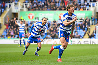 John Swift of Reading scores and celebrates to make the score 1-1 during Reading vs Wigan Athletic, Sky Bet EFL Championship Football at the Madejski Stadium on 9th March 2019
