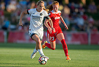 Boyds, MD. - Saturday, June 24 2017:  Lindsey Horan, Tori Huster during a regular season National Women's Soccer League (NWSL) match between the Washington Spirit and the Portland Thorns FC at Maureen Hendricks Field, Maryland SoccerPlex.<br />  The Washington Spirit defeated the Portland Thorns FC 1-0.