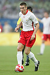 19 August 2008: Sebastien Pocognoli (BEL).  The men's Olympic soccer team of Nigeria defeated the men's Olympic soccer team of Belgium 4-1 at Shanghai Stadium in Shanghai, China in a Semifinal match in the Men's Olympic Football competition.