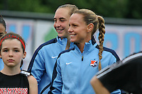 Piscataway, NJ - Saturday July 09, 2016: Christie Rampone, Caroline Casey prior to a regular season National Women's Soccer League (NWSL) match between Sky Blue FC and the Houston Dash at Yurcak Field.