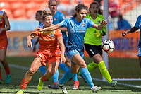 Houston, TX - Saturday May 13, Sky Blue FC midfielder Raquel Rodriguez (11), Houston Dash midfielder Amber Brooks (12) during a regular season National Women's Soccer League (NWSL) match between the Houston Dash and Sky Blue FC at BBVA Compass Stadium. Sky Blue won the game 3-1.