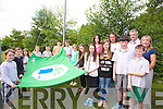 Green Flag - Scoil Nuachabhall, Ballymacelligot win their 5th flag, and invited local Mountain running champion John Lenihan to raise the flag on Monday. Pictured l-r  Evan Boyle, Shona Griffin, Orla O'Connor, Sean Dillane, Peter Stein, Eoin Leahy, Jack Tobin, Emily O'Brien, Milly Luck, Cathy Dunn (Teacher), Eve Creedon, Secretary, Niamh Rahilly, Chairperson, Eoin Culloty, Recording Secretary, Ciaran Brosnan, Vice Chairperson, John Lenihan, Mick Bolger, (Principal) and Anna Mason(Teacher)