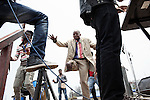 a war injured dancing on a stage during a peace manifestation in Goma, sept 2013