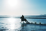 Silhouette of a horse rider at the beach during sunset. High key image.