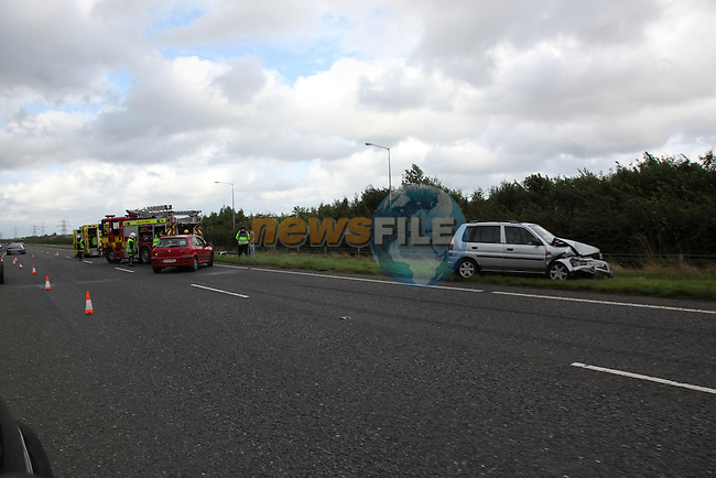 Lucky escape for the occupants of three vehicles after an accident on the M1 at junction 5, Fire service from Balbriggan, Drogheda and Dublin attended the scene. The occupants of one vehicle had to be extracted from the vehicle using cutting equipment..Photo: Fran Caffrey/www.newsfile.ie...