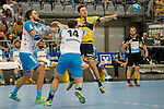 GER - Mannheim, Germany, September 23: During the DKB Handball Bundesliga match between Rhein-Neckar Loewen (yellow) and TVB 1898 Stuttgart (white) on September 23, 2015 at SAP Arena in Mannheim, Germany. Final score 31-20 (19-8) .  +s6, Simon Baumgarten #14 of TVB 1898 Stuttgart, Patrick Groetzki #24 of Rhein-Neckar Loewen<br /> <br /> Foto &copy; PIX-Sportfotos *** Foto ist honorarpflichtig! *** Auf Anfrage in hoeherer Qualitaet/Aufloesung. Belegexemplar erbeten. Veroeffentlichung ausschliesslich fuer journalistisch-publizistische Zwecke. For editorial use only.