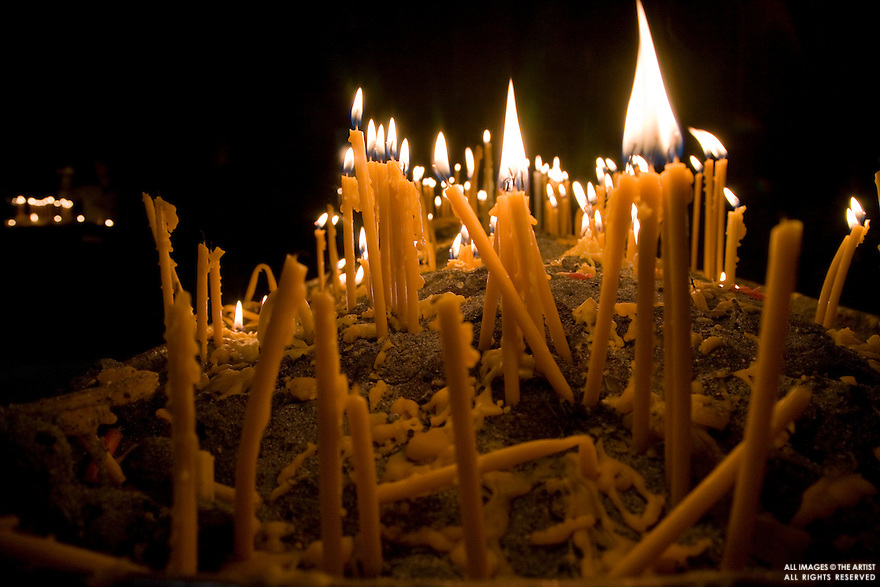 Candles at church in Armenia