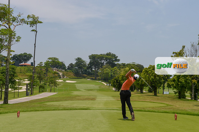 Lucius TOH (SIN) watches his tee shot on 3 during Rd 1 of the Asia-Pacific Amateur Championship, Sentosa Golf Club, Singapore. 10/4/2018.<br /> Picture: Golffile | Ken Murray<br /> <br /> <br /> All photo usage must carry mandatory copyright credit (© Golffile | Ken Murray)