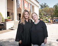 Elizabeth Kennedy and her daughter Annis Roberts '20. The class of 2021 are welcomed to Occidental College by trustees, faculty and staff in Thorne Hall on Aug. 29, 2017 during Oxy's 130th Convocation ceremony, a tradition that formally marks the start of the academic year and welcomes the new class.<br /> (Photo by Marc Campos, Occidental College Photographer)