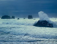 769550461 a strong pacific coast storm pounds the sea stacks and coastal beach along bandon beach on the north central oregon coast