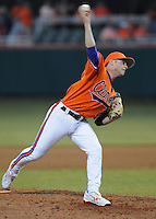 Photo of the Clemson Tigers in a game against the Eastern Michigan Eagles on Friday, Feb. 18, 2011, at Doug Kingsmore Stadium in Clemson, S.C. Photo by: Tom Priddy/Four Seam Images