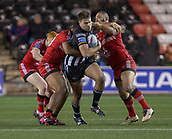 22nd March 2018, Select Security Stadium, Widnes, England; Betfred Super League rugby, Widness Vikings versus Salford Red Devils; Ted Chapelhow is tackled by Weller Hauraki