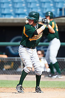 Troy Montgomery #8 of Mt. Vernon High School in Cumberland, Indiana playing for the Oakland Athletics scout team during the East Coast Pro Showcase at Alliance Bank Stadium on August 3, 2012 in Syracuse, New York.  (Mike Janes/Four Seam Images)