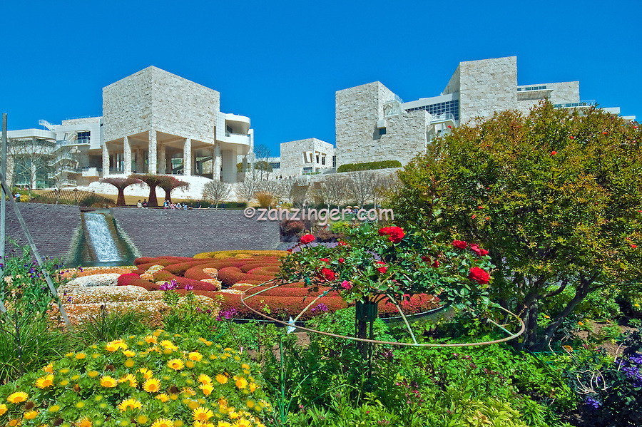 The Getty Center, in Brentwood, Los Angeles, California, is a campus for the J. Paul Getty Trust founded by oilman J. Paul Getty