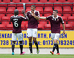 St Johnstone v Hearts...03.08.14  Steven Anderson Testimonial<br /> Osman Sow celebrates his goal<br /> Picture by Graeme Hart.<br /> Copyright Perthshire Picture Agency<br /> Tel: 01738 623350  Mobile: 07990 594431