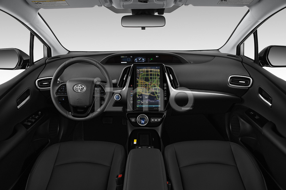 Stock photo of straight dashboard view of a 2020 Toyota Prius-Prime XLE 5 Door Hatchback