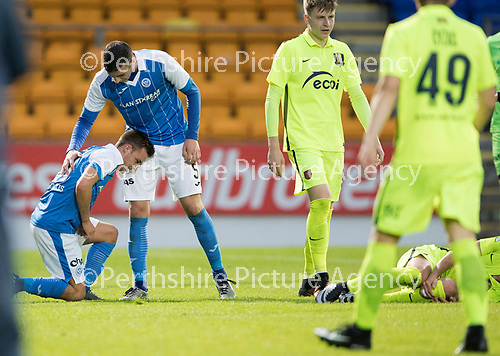 St Johnstone v FK Trakai&hellip;29.06.17  UEFA Europa League 1st Qualifying Round - 1st Leg  McDiarmid Park<br />Stefan Scougall is injured after a tackle by Vaidotas Silenas who was dent off<br />Picture by Graeme Hart.<br />Copyright Perthshire Picture Agency<br />Tel: 01738 623350  Mobile: 07990 594431