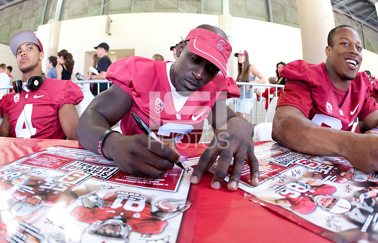STANFORD CA - August 21, 2011: Michael Thomas at the Stanford Cardinal Football Open House took place Sunday, August 21, 2011 at Stanford Stadium. <br /> <br /> Youngsters got to practice at skills stations run by Stanford Football coaches. Fans of all ages were able to watch the 2011 squad practice, get autographs from their favorite players, and have their pictures taken with the 2011 Orange Bowl Trophy.