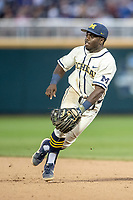 Michigan Wolverines second baseman Ako Thomas (4) on defense against the Vanderbilt Commodores during Game 1 of the NCAA College World Series Finals on June 24, 2019 at TD Ameritrade Park in Omaha, Nebraska. Michigan defeated Vanderbilt 7-4. (Andrew Woolley/Four Seam Images)