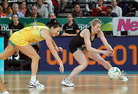 16.09.2012 Silver Ferns Camilla Lees and Australian Natalie Von Bertouch in action during the first netball test match between the Silver Ferns and the Australian Diamonds played at the Hisense Arena In Melbourne. Mandatory Photo Credit ©Michael Bradley.