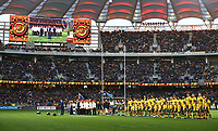 The teams line-up for the national anthems during the Rugby Championship match between Australia and New Zealand at Optus Stadium in Perth, Australia on August 10, 2019 . Photo: Gary Day / Frozen In Motion
