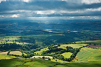 Dramitic light over rural landscape and Wye Valley seen from Hay Bluff, Brecon Beacons national park, Wales