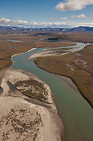 Noatak river flows out of the Brooks Range in Arctic, Alaska.